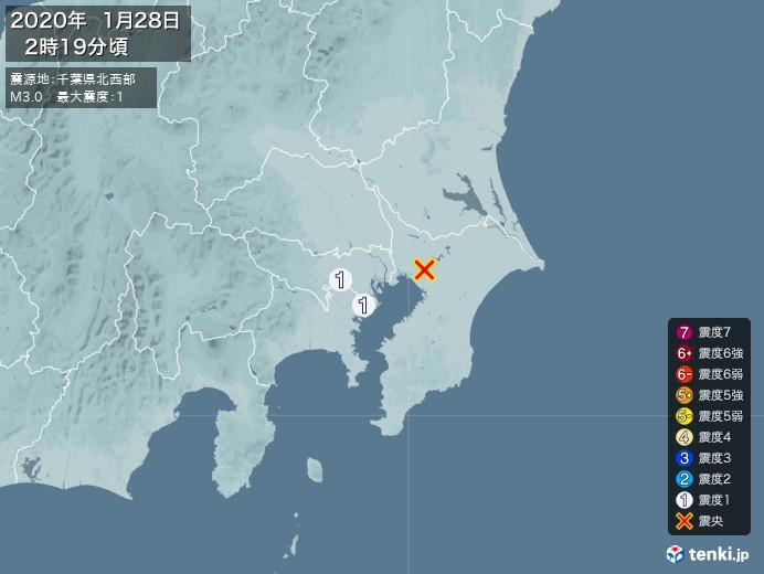 地震情報(2020年01月28日02時19分発生)