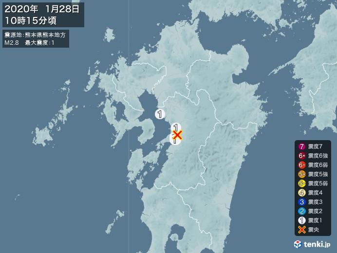 地震情報(2020年01月28日10時15分発生)