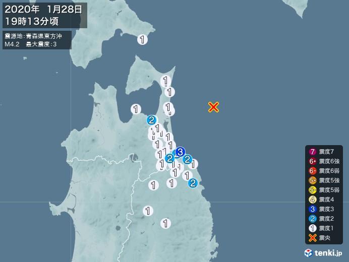 地震情報(2020年01月28日19時13分発生)