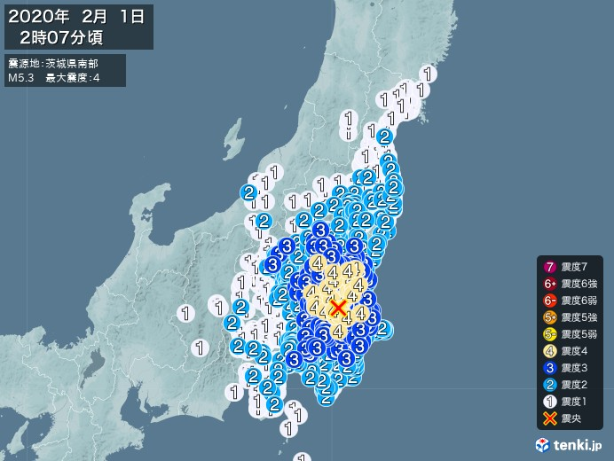 地震情報(2020年02月01日02時07分発生)