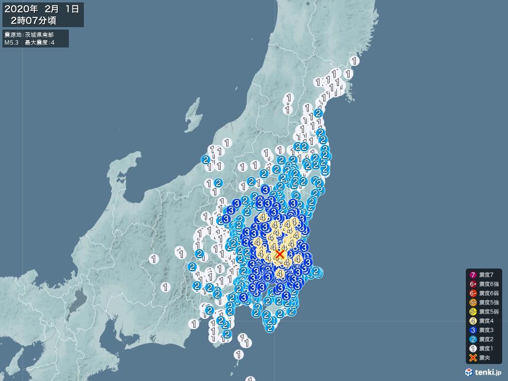 地震情報 2020年02月01日 02時07分頃発生 最大震度:4 震源地:茨城県南部(拡大画像)