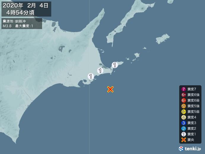 地震情報(2020年02月04日04時54分発生)