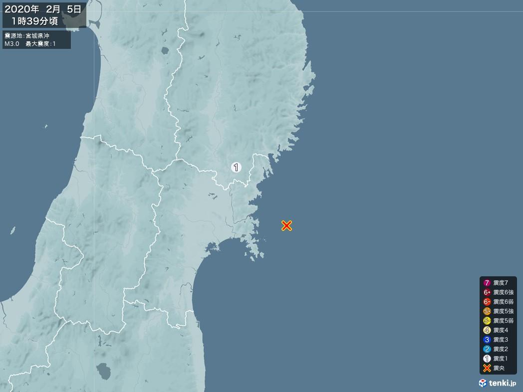 地震情報 2020年02月05日 01時39分頃発生 最大震度:1 震源地:宮城県沖(拡大画像)