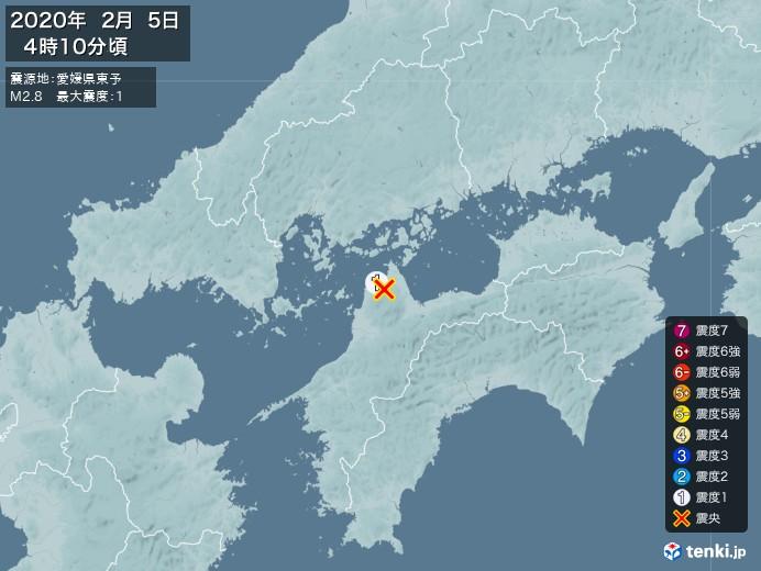 地震情報(2020年02月05日04時10分発生)