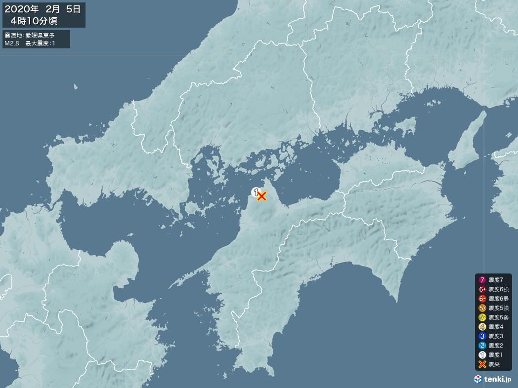 地震情報 2020年02月05日 04時10分頃発生 最大震度:1 震源地:愛媛県東予(拡大画像)