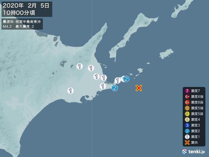地震情報(2020年02月05日10時00分発生)