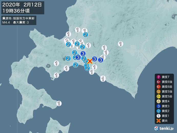 地震情報(2020年02月12日19時36分発生)