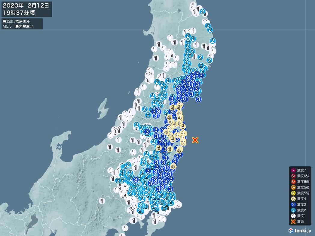 地震情報 2020年02月12日 19時37分頃発生 最大震度:4 震源地:福島県沖(拡大画像)