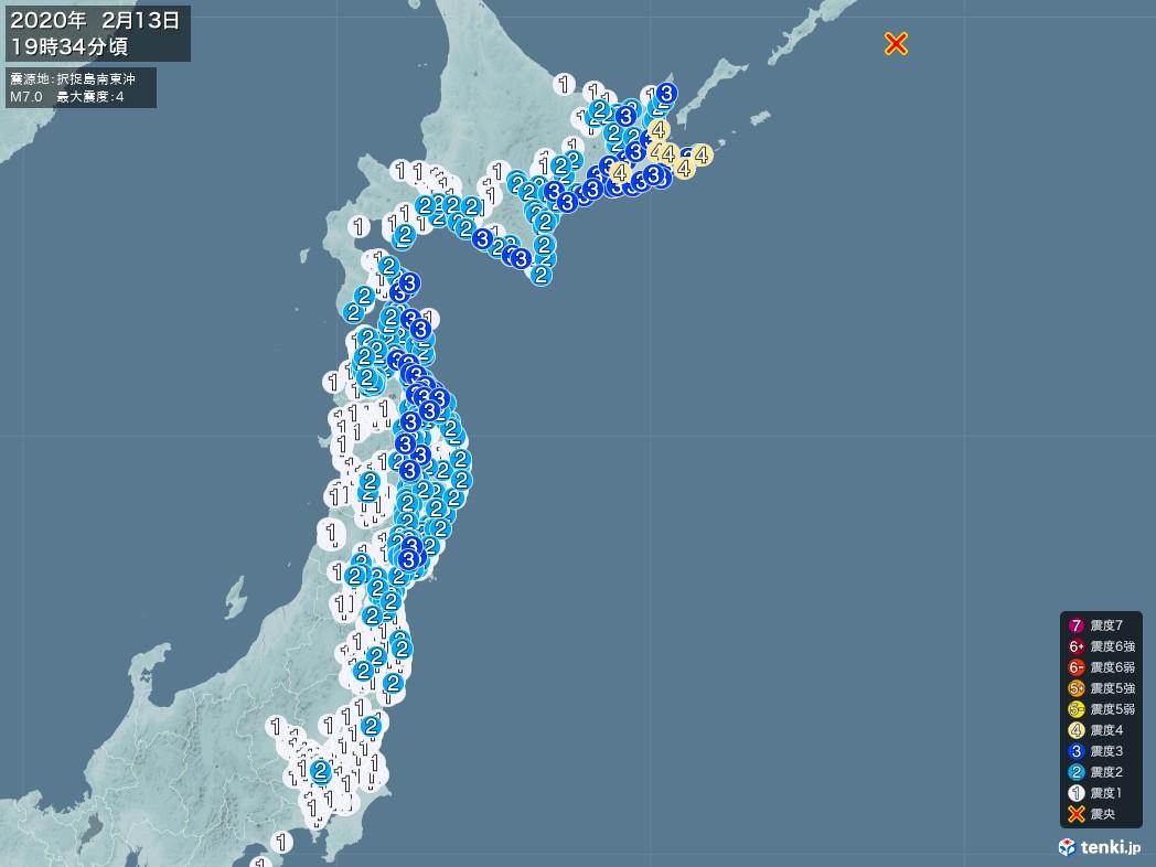 地震情報 2020年02月13日 19時34分頃発生 最大震度:4 震源地:択捉島南東沖(拡大画像)