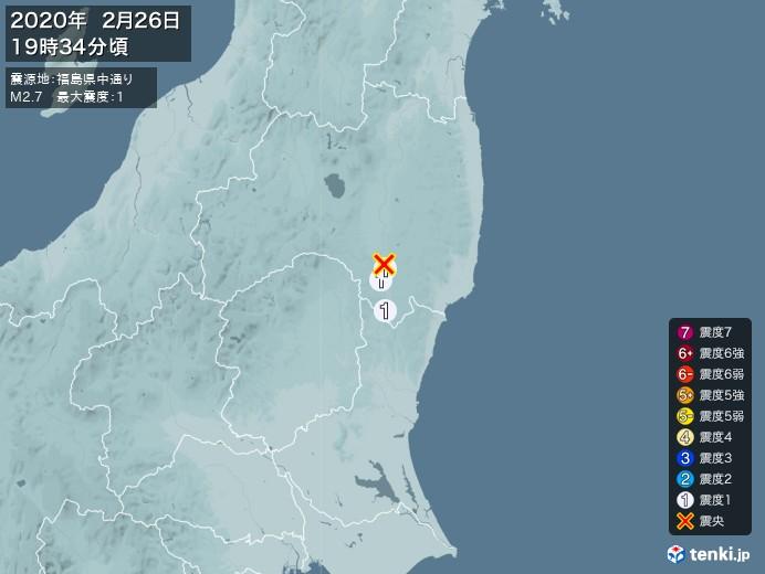 地震情報(2020年02月26日19時34分発生)