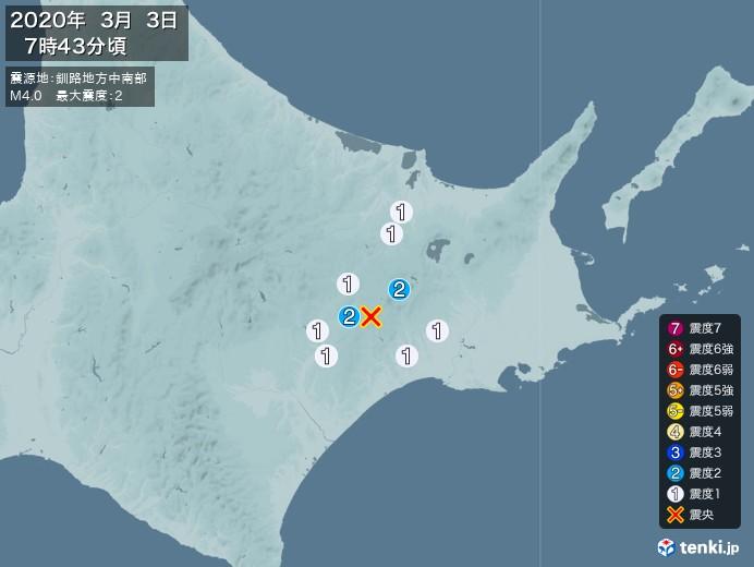 地震情報(2020年03月03日07時43分発生)