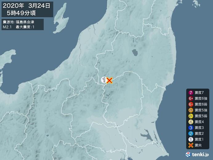 地震情報(2020年03月24日05時49分発生)