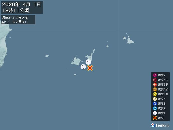 地震情報(2020年04月01日18時11分発生)