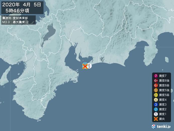 地震情報(2020年04月05日05時46分発生)