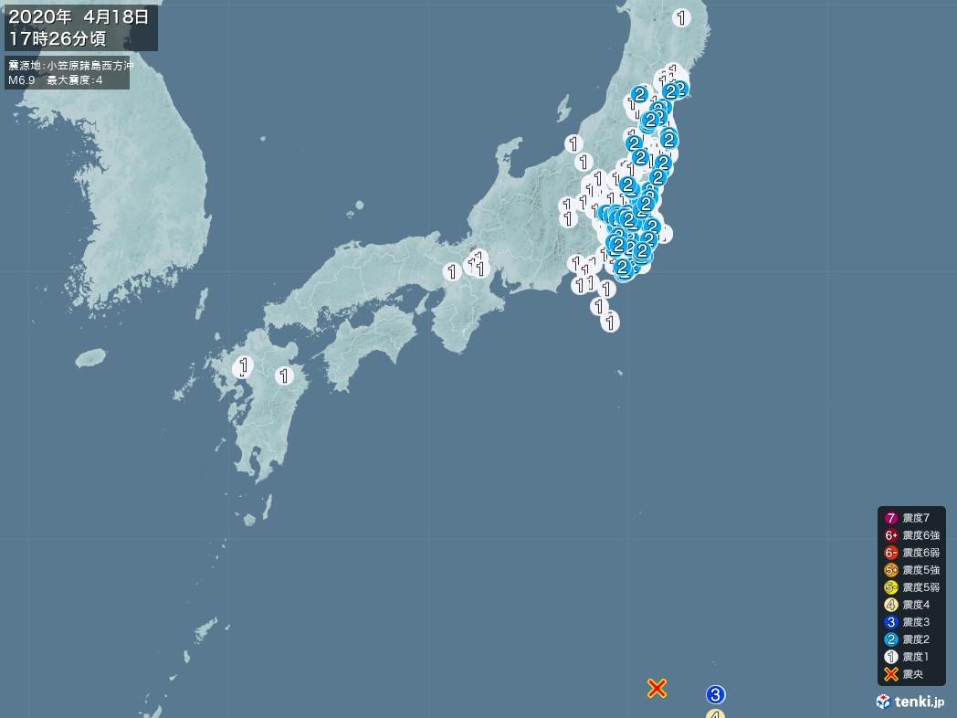 地震情報 2020年04月18日 17時26分頃発生 最大震度:4 震源地:小笠原諸島西方沖(拡大画像)
