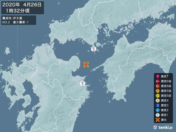 地震情報(2020年04月26日01時32分発生)