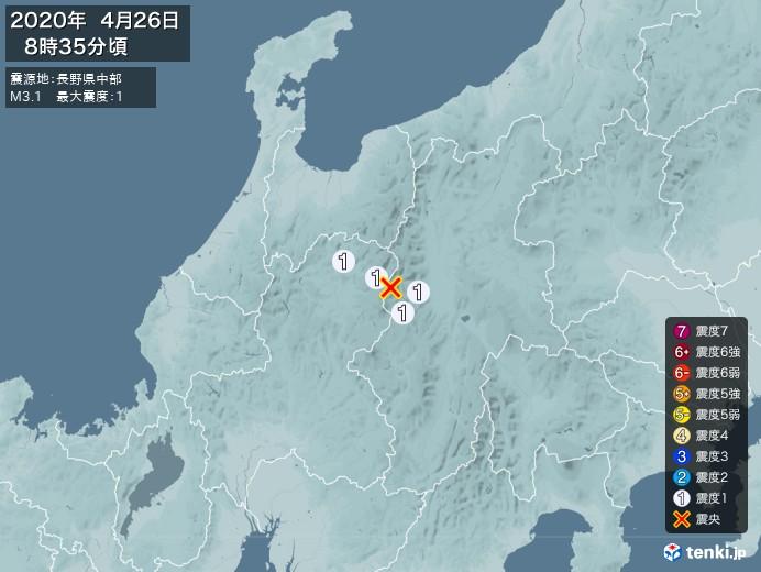 地震情報(2020年04月26日08時35分発生)