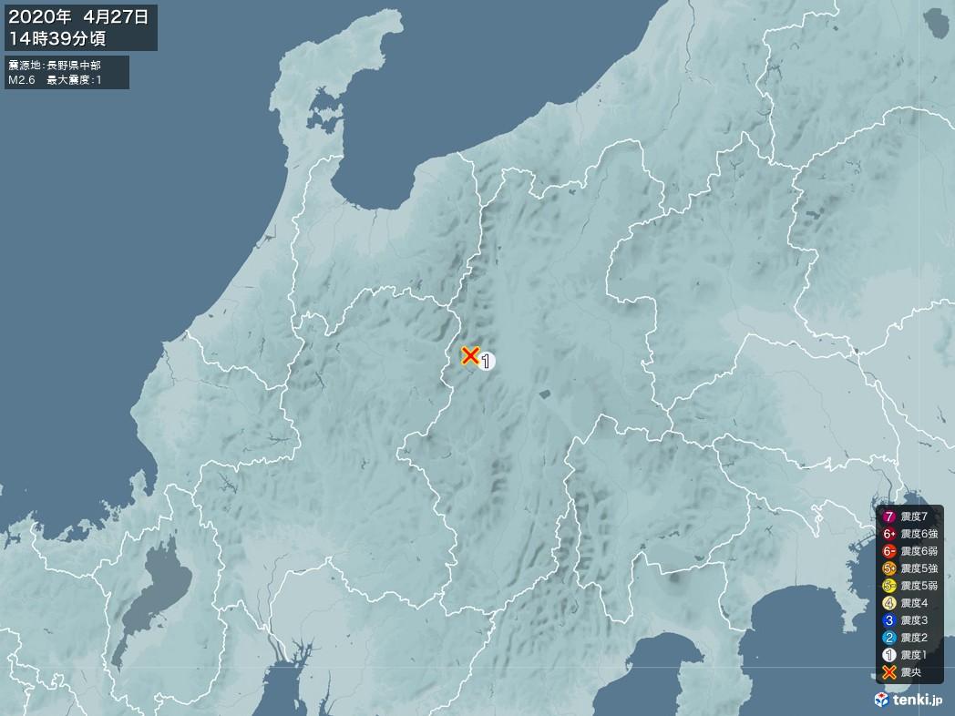 地震情報 2020年04月27日 14時39分頃発生 最大震度:1 震源地:長野県中部(拡大画像)