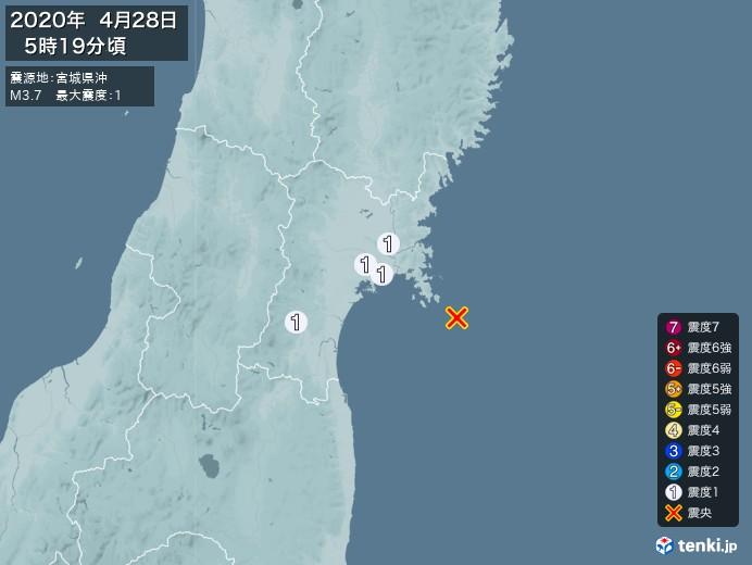 地震情報(2020年04月28日05時19分発生)