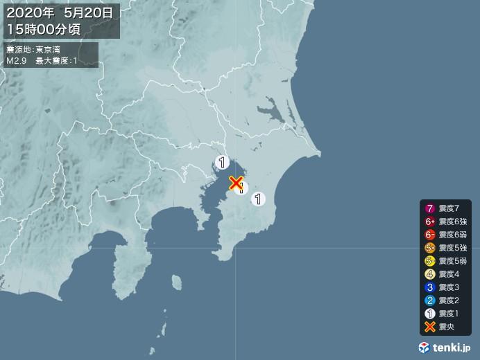 地震情報(2020年05月20日15時00分発生)