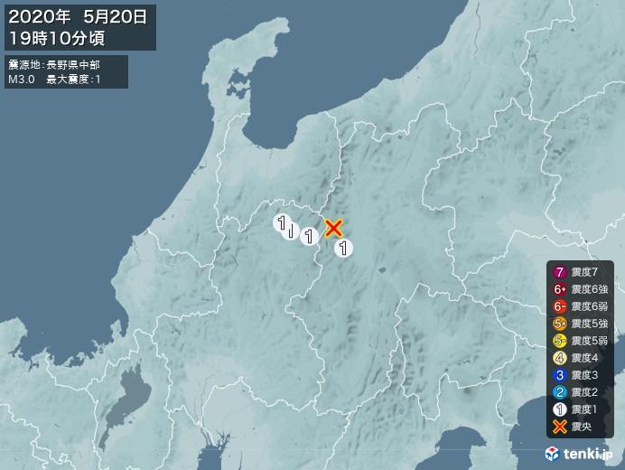 地震情報(2020年05月20日19時10分発生)