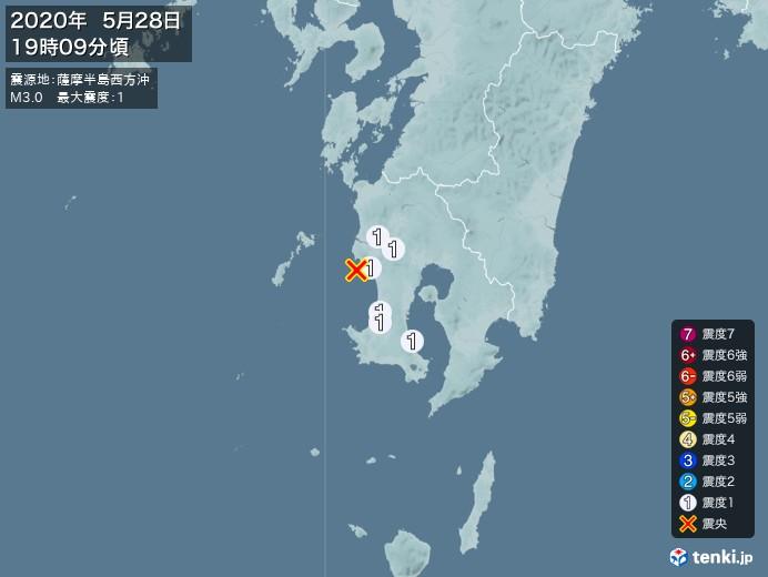 地震情報(2020年05月28日19時09分発生)