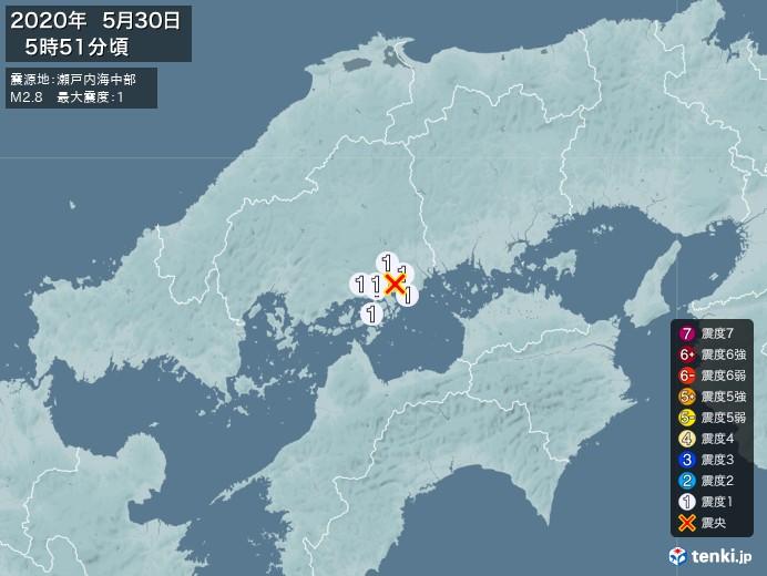 地震情報(2020年05月30日05時51分発生)