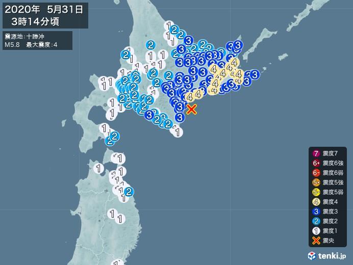 地震情報(2020年05月31日03時14分発生)