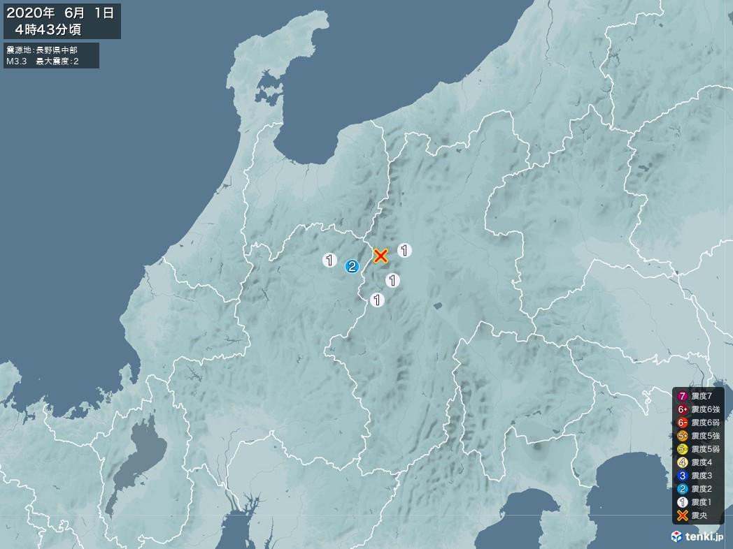 地震情報 2020年06月01日 04時43分頃発生 最大震度:2 震源地:長野県中部(拡大画像)