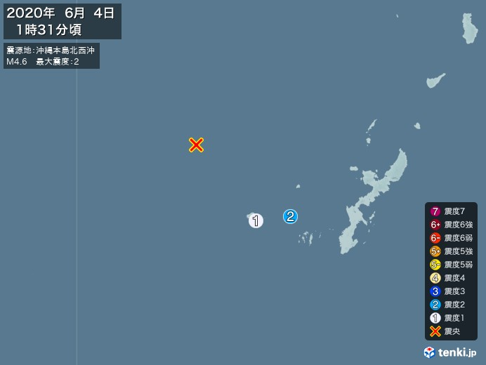 地震情報(2020年06月04日01時31分発生)