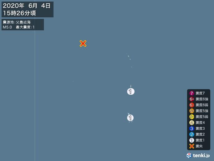 地震情報(2020年06月04日15時26分発生)