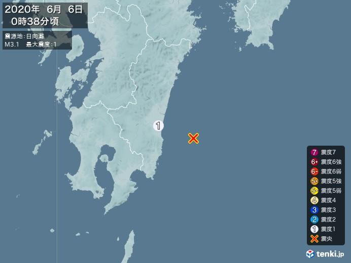 地震情報(2020年06月06日00時38分発生)