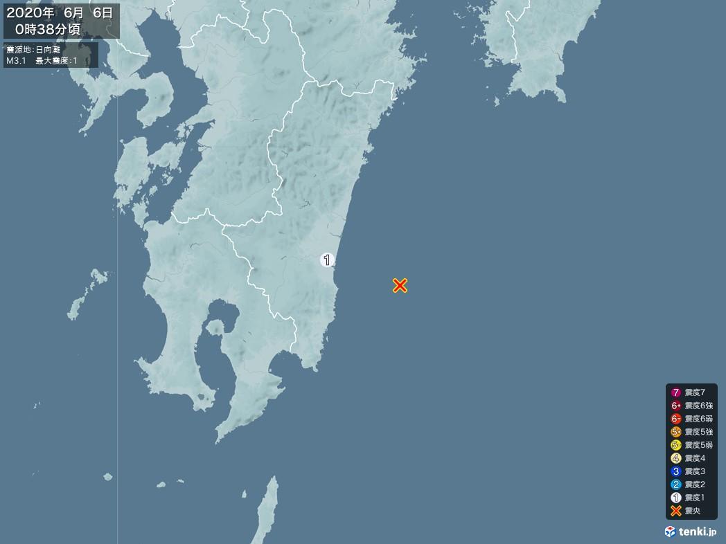 地震情報 2020年06月06日 00時38分頃発生 最大震度:1 震源地:日向灘(拡大画像)