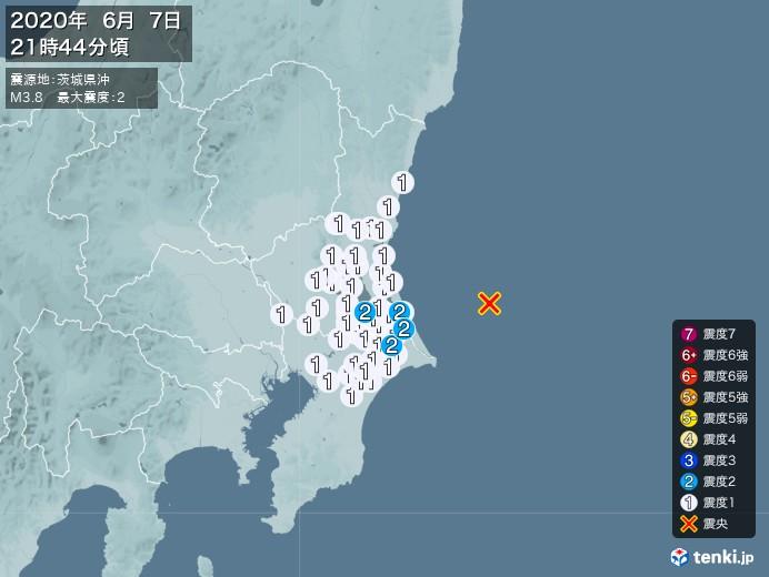 地震情報(2020年06月07日21時44分発生)