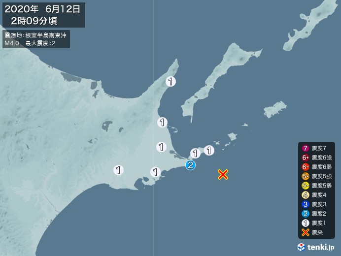 地震情報(2020年06月12日02時09分発生)