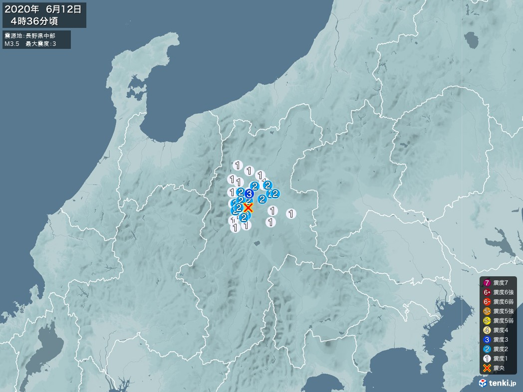 地震情報 2020年06月12日 04時36分頃発生 最大震度:3 震源地:長野県中部(拡大画像)