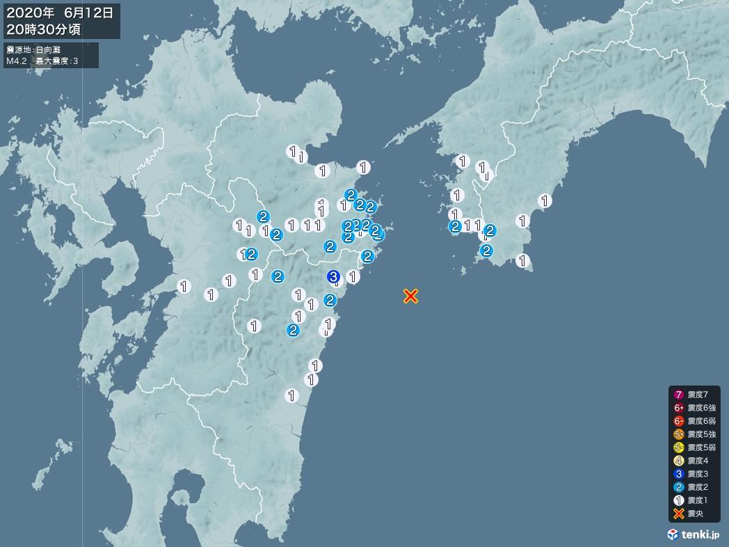 地震情報 2020年06月12日 20時30分頃発生 最大震度:3 震源地:日向灘(拡大画像)