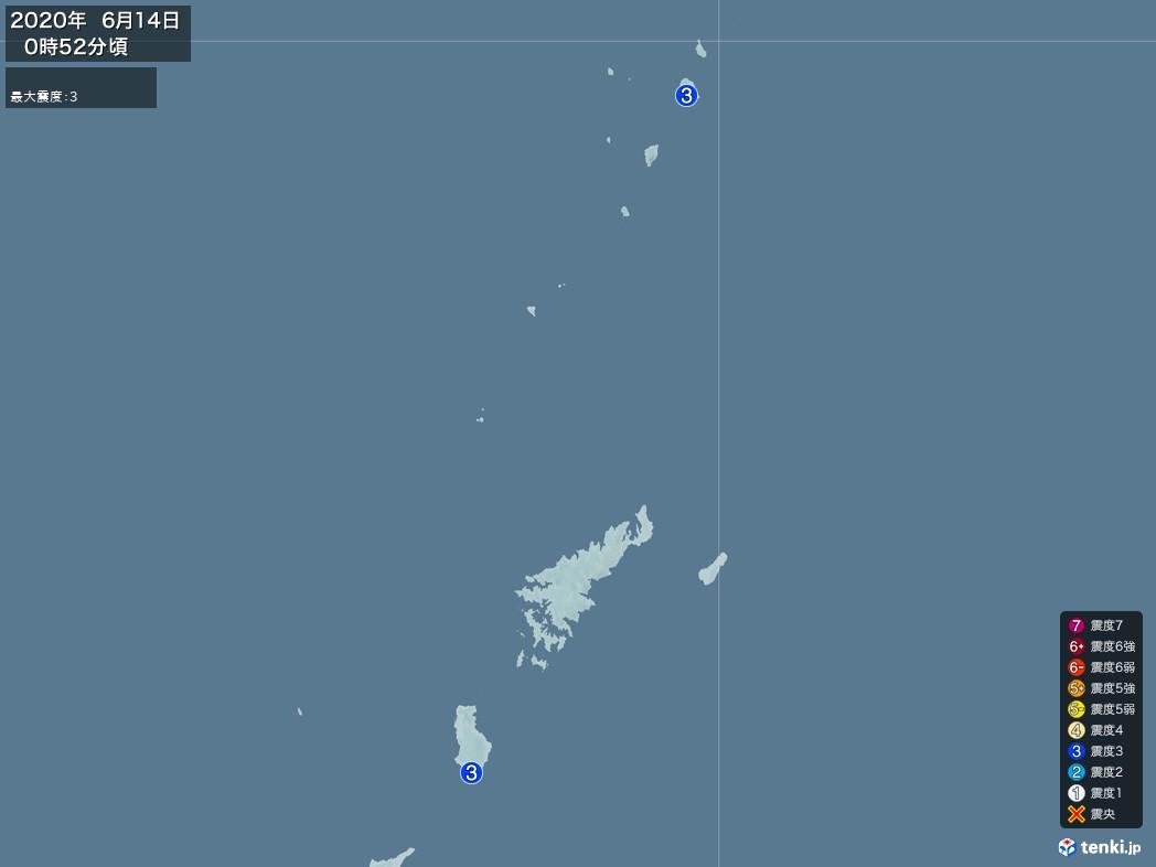 地震情報 2020年06月14日 00時52分頃発生 最大震度:3(拡大画像)