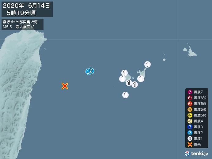地震情報(2020年06月14日05時19分発生)