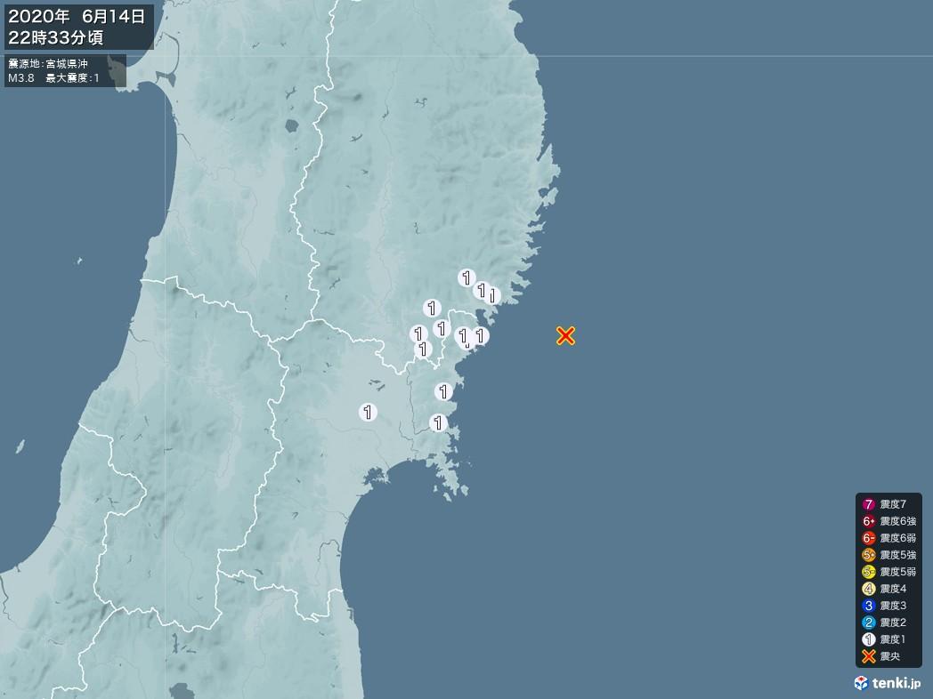 地震情報 2020年06月14日 22時33分頃発生 最大震度:1 震源地:宮城県沖(拡大画像)