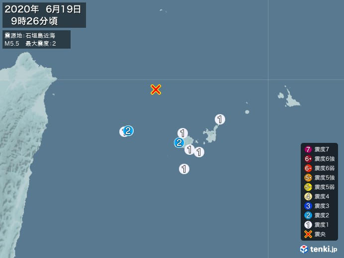 地震情報(2020年06月19日09時26分発生)