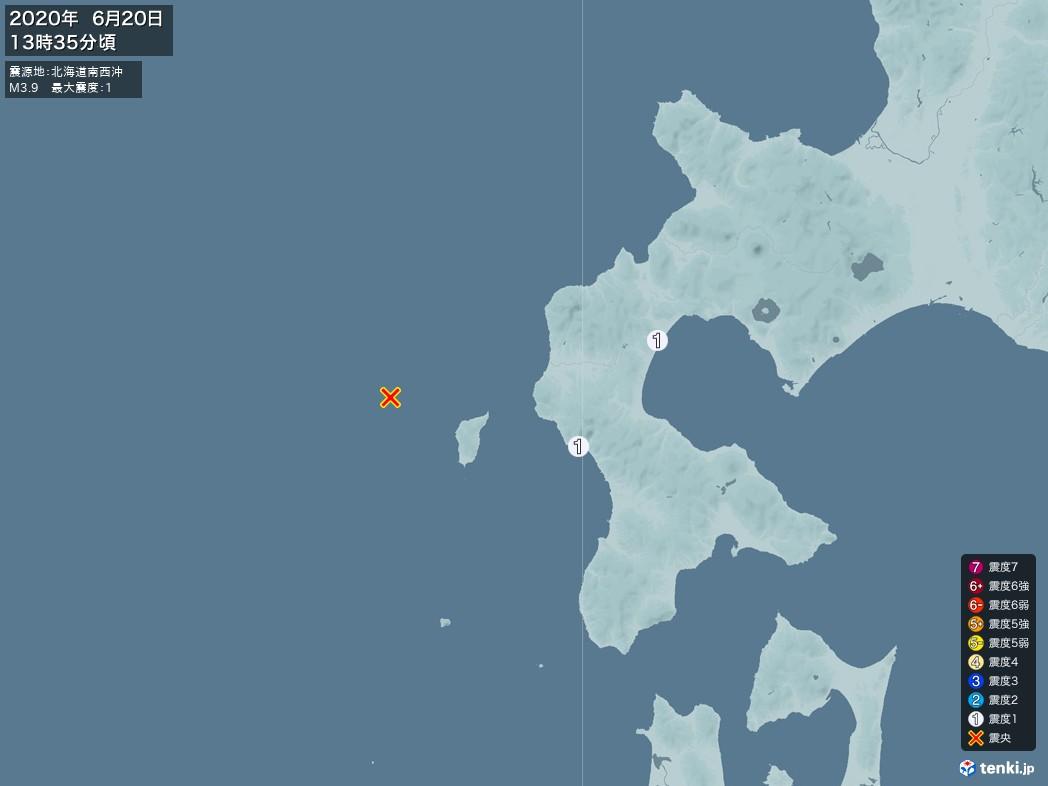 地震情報 2020年06月20日 13時35分頃発生 最大震度:1 震源地:北海道南西沖(拡大画像)