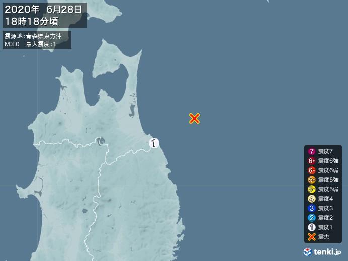 地震情報(2020年06月28日18時18分発生)