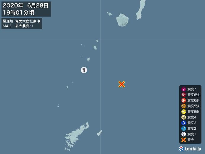 地震情報(2020年06月28日19時01分発生)