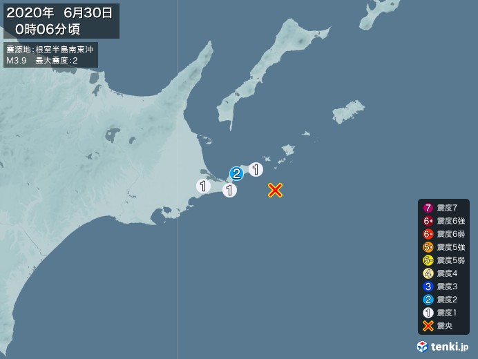 地震情報(2020年06月30日00時06分発生)