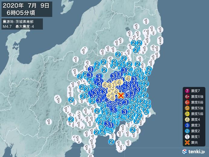 地震情報(2020年07月09日06時05分発生)