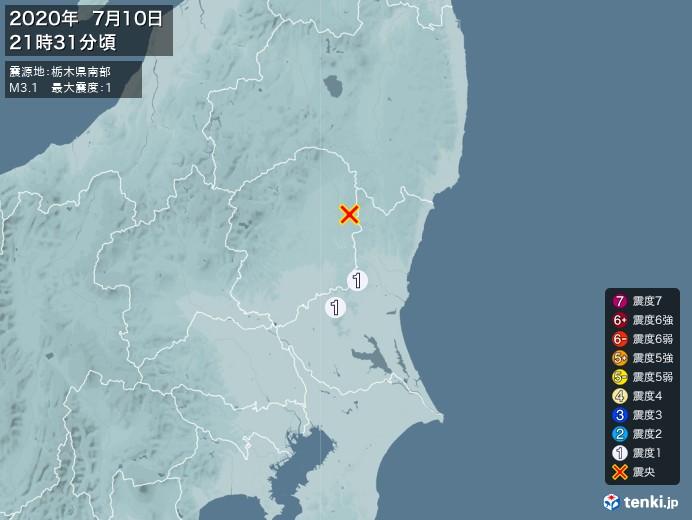 地震情報(2020年07月10日21時31分発生)