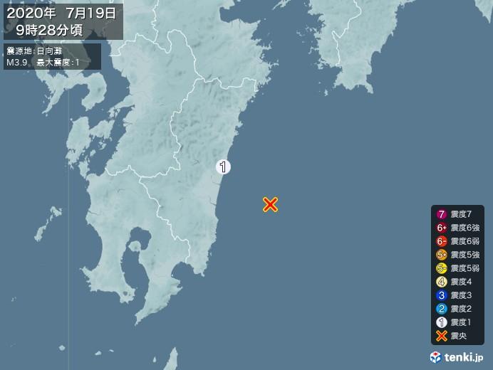 地震情報(2020年07月19日09時28分発生)
