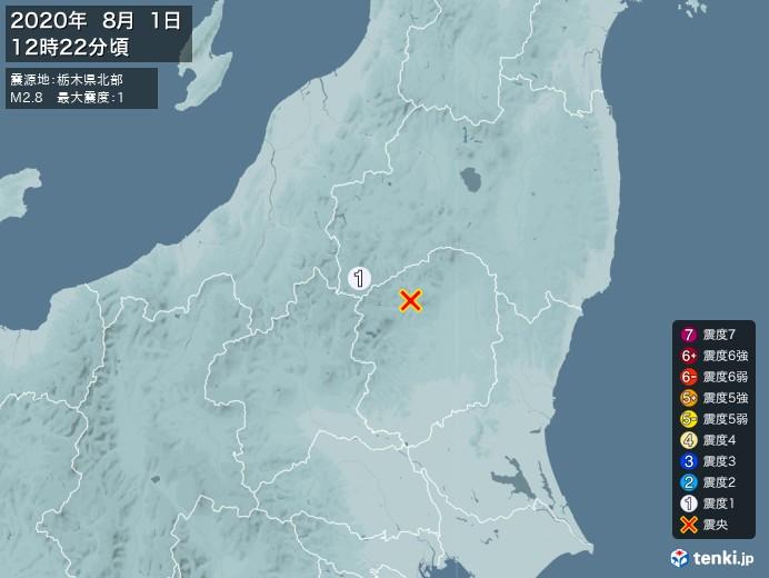 地震情報(2020年08月01日12時22分発生)