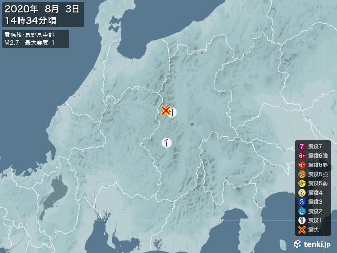 地震情報(2020年08月03日14時34分発生)